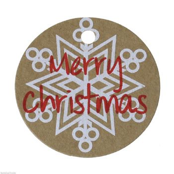 Pack of 10  Gift Tags Snowflake Pattern Round 5cm